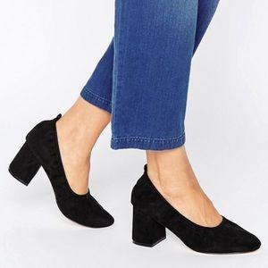 ASOS wide fit black velvet heels